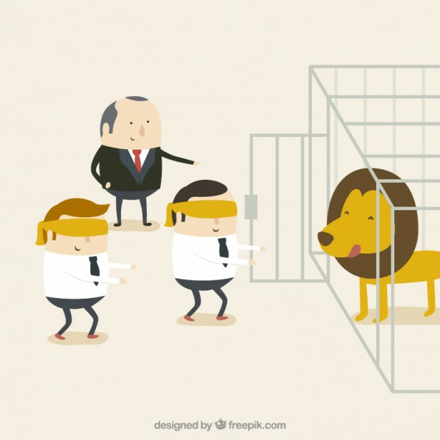 Blindfolded and lead to the lion's cage. A metaphor for Disregard