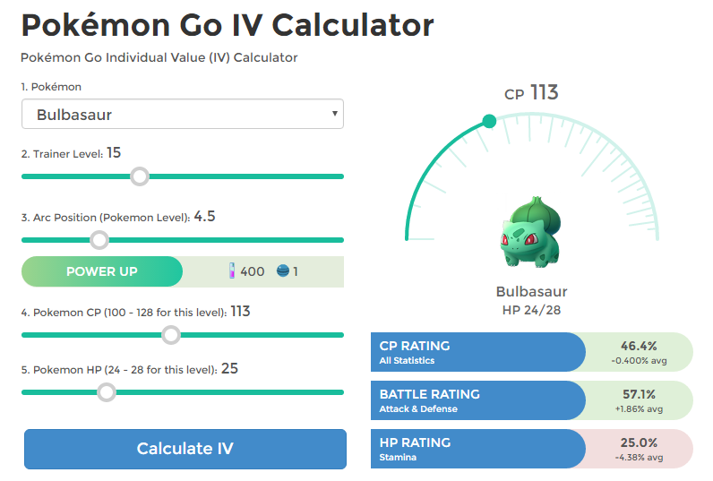 Pokemon IV Calculator
